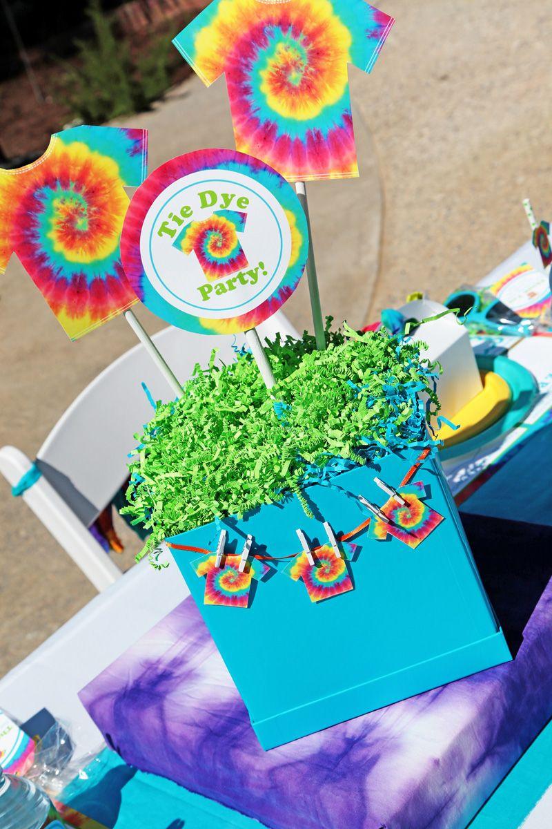 Diy Centerpiece Tie Dye Party Amazing Free Printables Tie