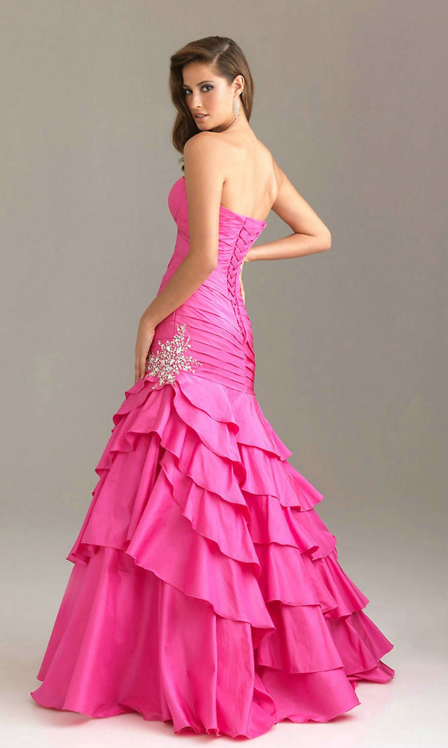 Hot pink pleated ruched sequin long strapless sweetheart v neck