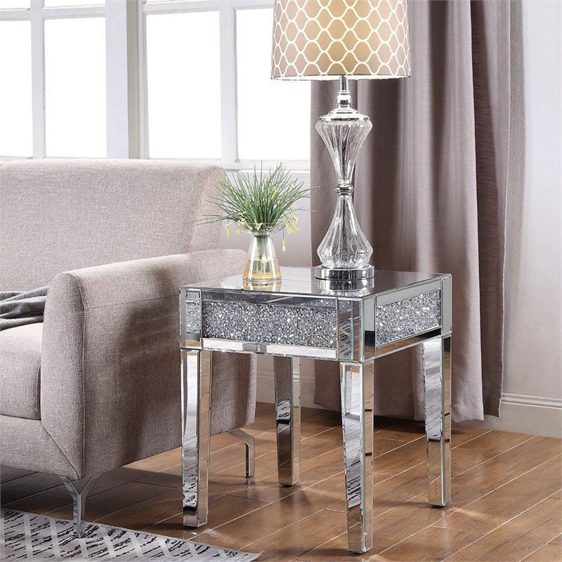 Acme Noralie End Table In Mirrored And Faux Diamonds Walmart Com