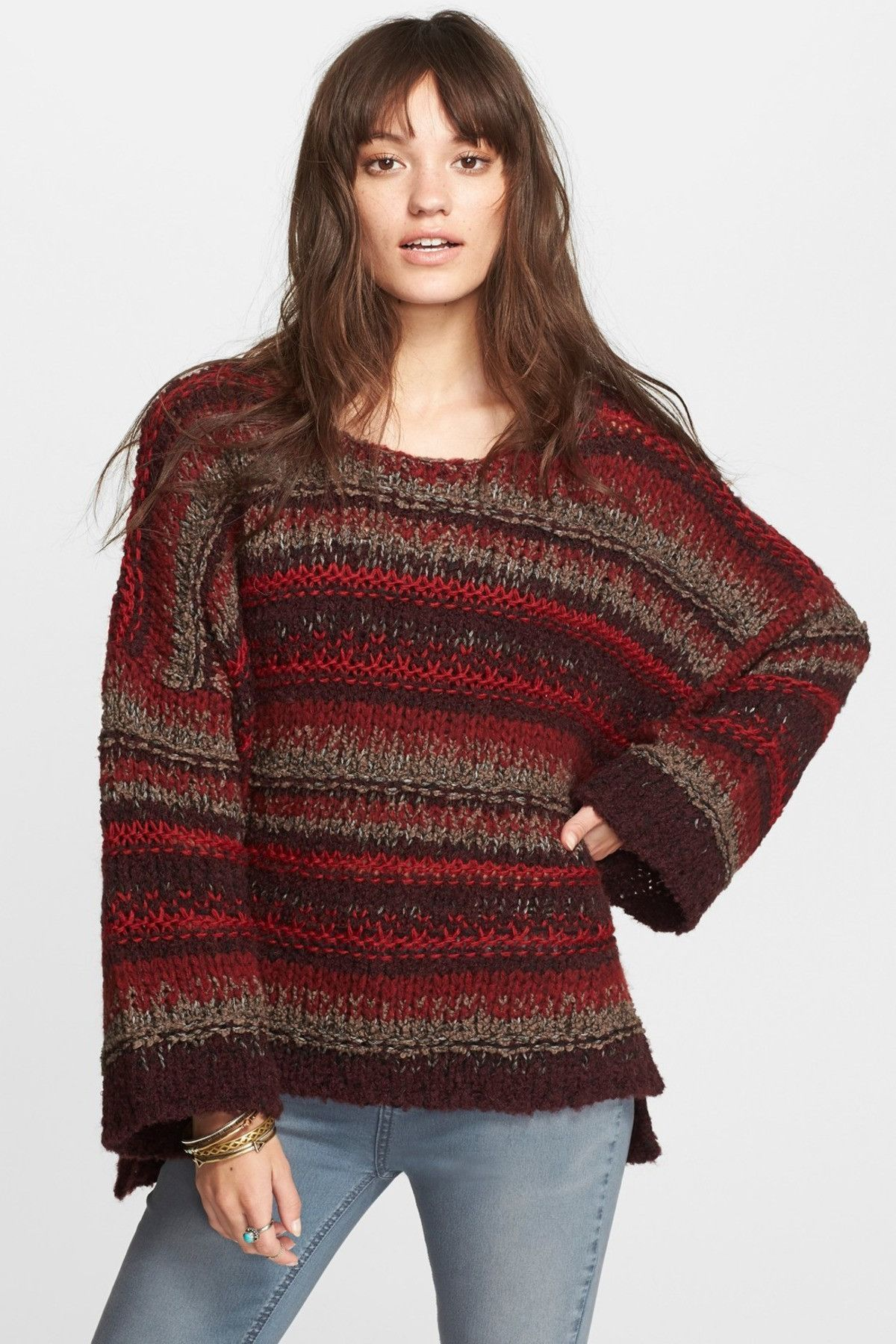 Free People Striped Chunky Knit Slouchy Pullover Sweater Top Rich ...