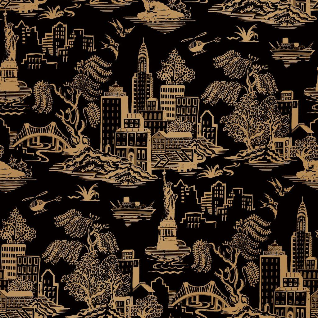 New York Toile Self Adhesive Wallpaper In Black And Metallic Gold By G Burke Decor Toile Wallpaper Gold Removable Wallpaper Removable Wallpaper
