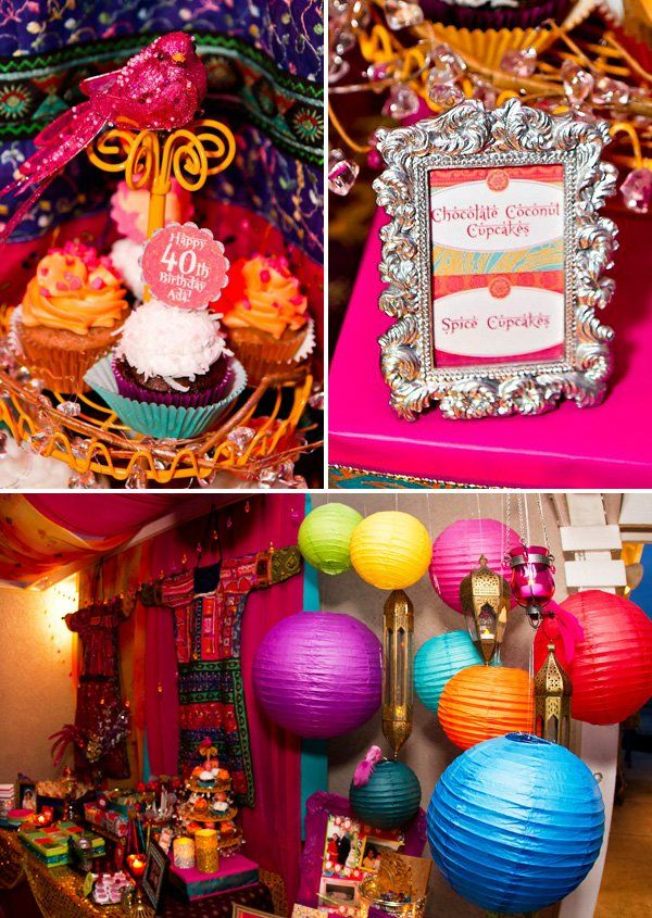 Vibrant exotic bollywood 40th birthday party 40 for 40th party decoration