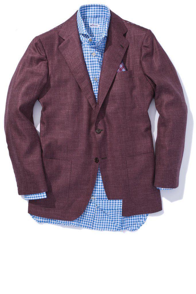Kiton Buiano Cashmere/Silk/Linen Merlot Sport Coat