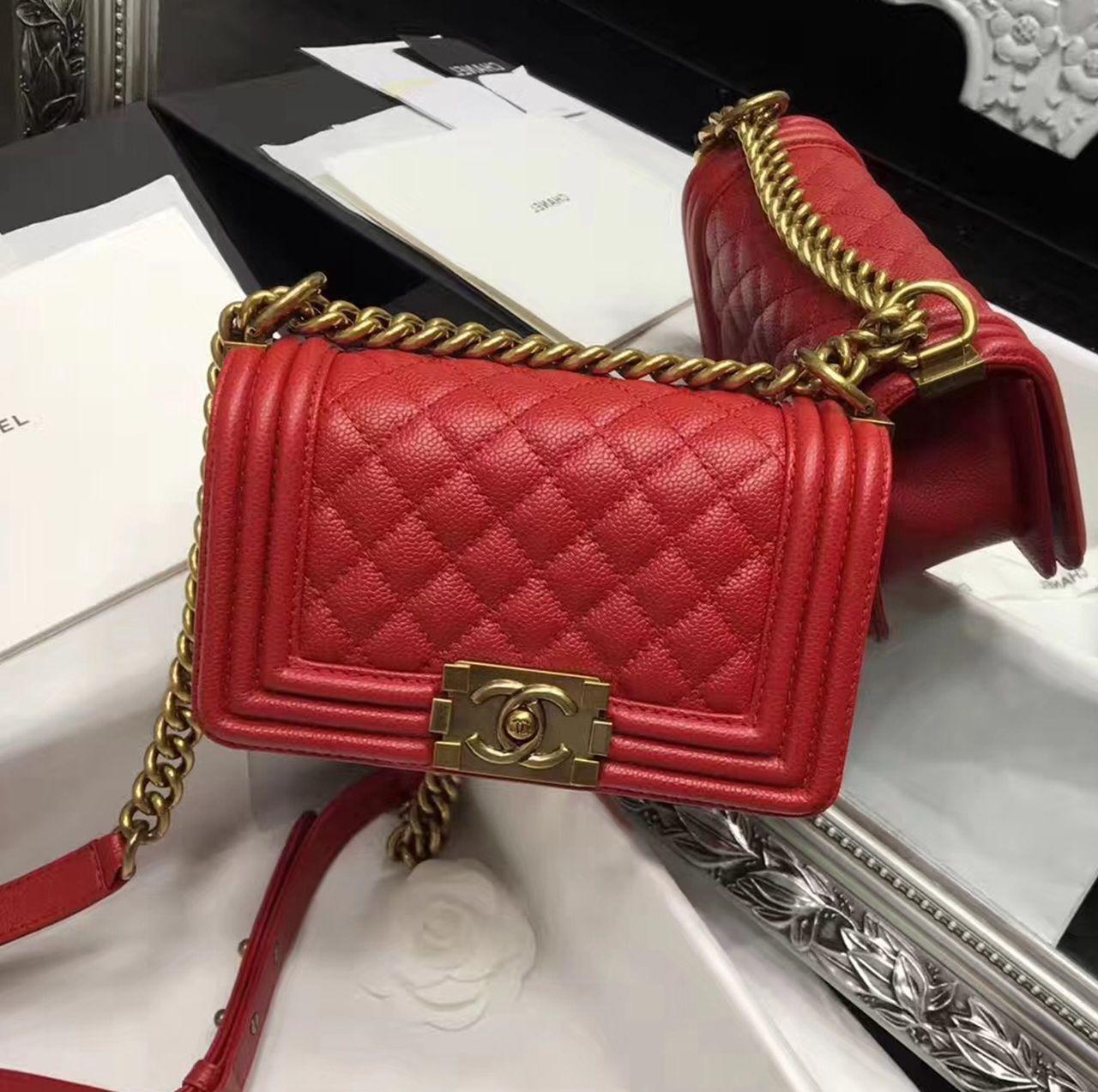c92d9bcb1c6fdb Chanel Original Caviar Leather Small Le Boy Flap Bag in Red 20cm ...