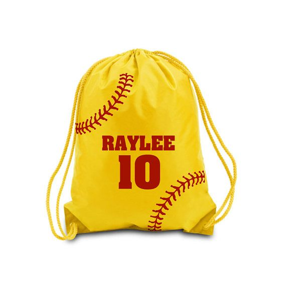 Personalized Drawstring Bag Softball With Name And Number Backpack
