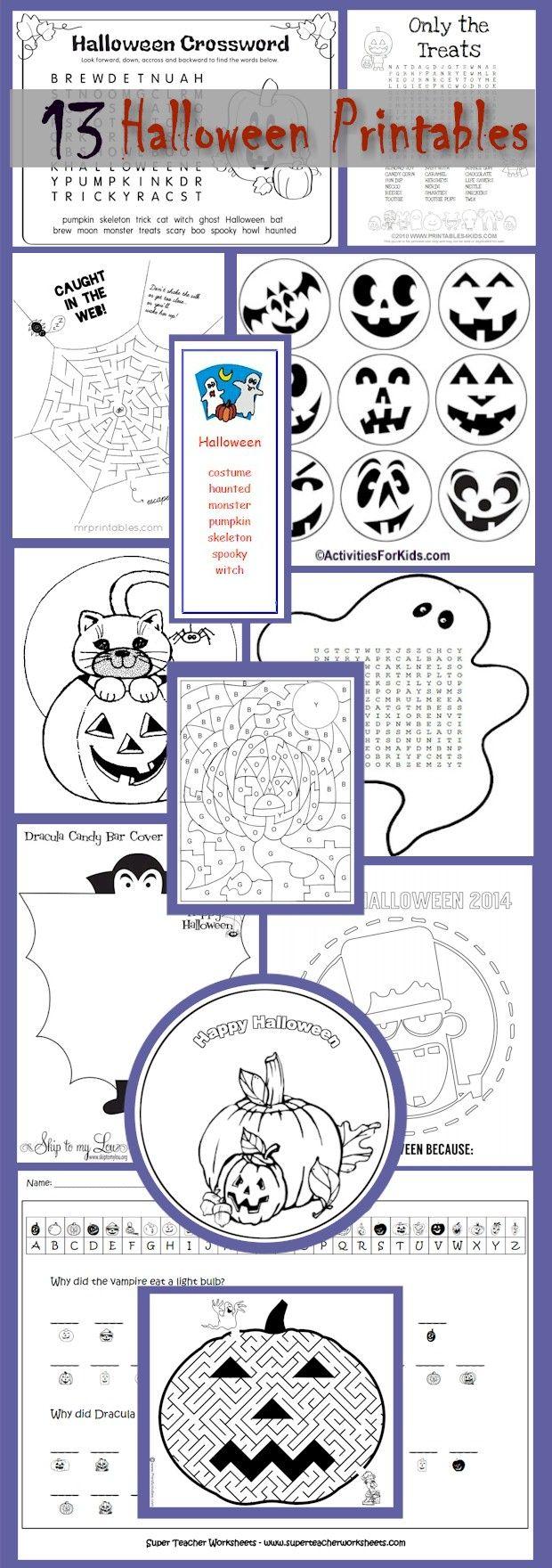 halloween printouts for kids classroom activities groups scouts 13 halloween printables for