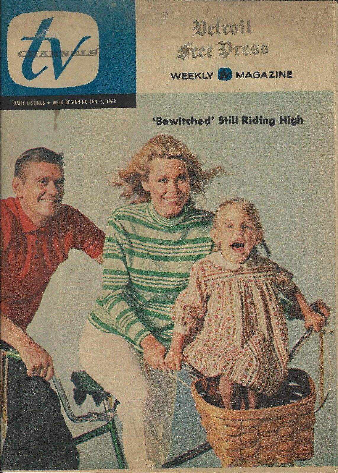 Cast Tv Channels Rare 1969 Bewitched Tv Channels Guide Magazine Regional Cast