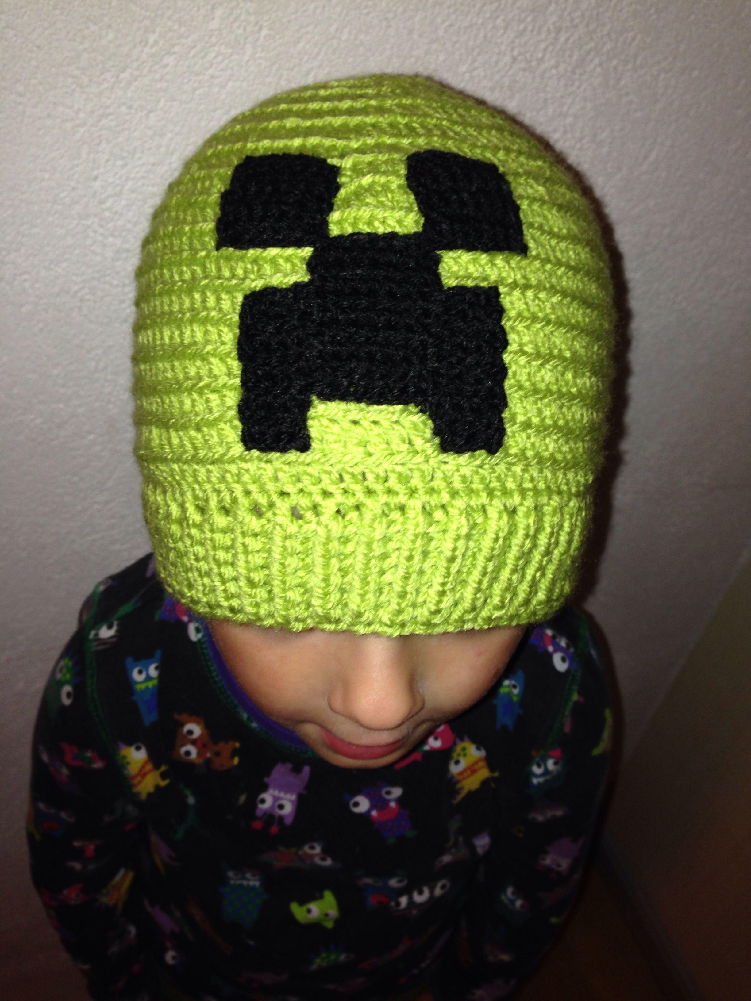 2fb381318bc Crochet beanie with a Minecraft creeper applique.