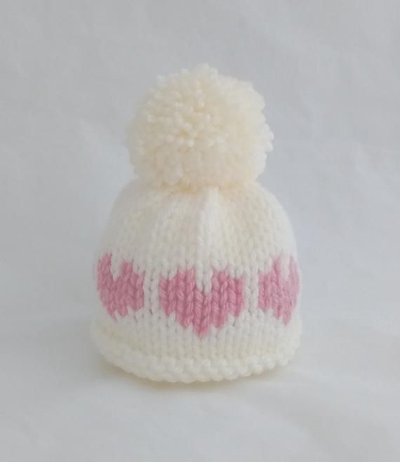 Photo of Newborn baby girl pom pom bobble hat pink cream heart – photo prop shoot twin sisters warm winter hat – baby shower gift autumn fall winter
