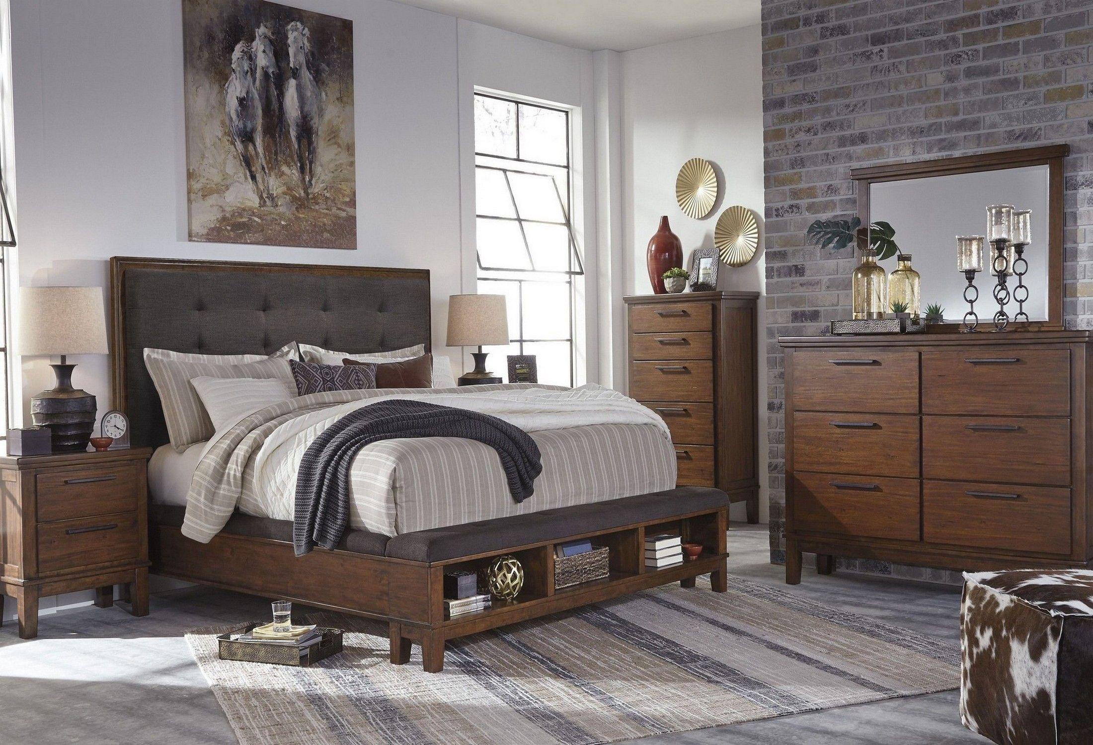 Ralene Dark Brown Upholstered Platform Storage Bedroom Set Upholstered Bedroom Bedroom Furniture Sets Bedroom Set