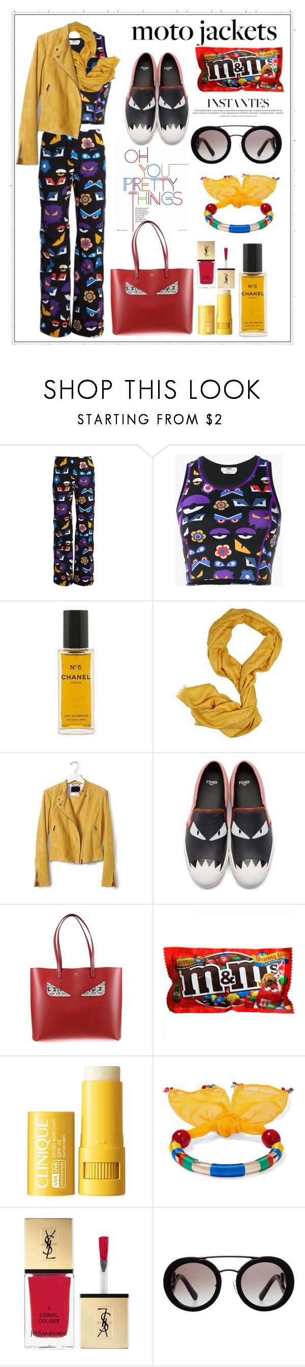 """Untitled #322"" by meryflower ❤ liked on Polyvore featuring Hansen, Fendi, Chanel, Banana Republic, Clinique, Rosantica, Yves Saint Laurent, Prada and motojacket"