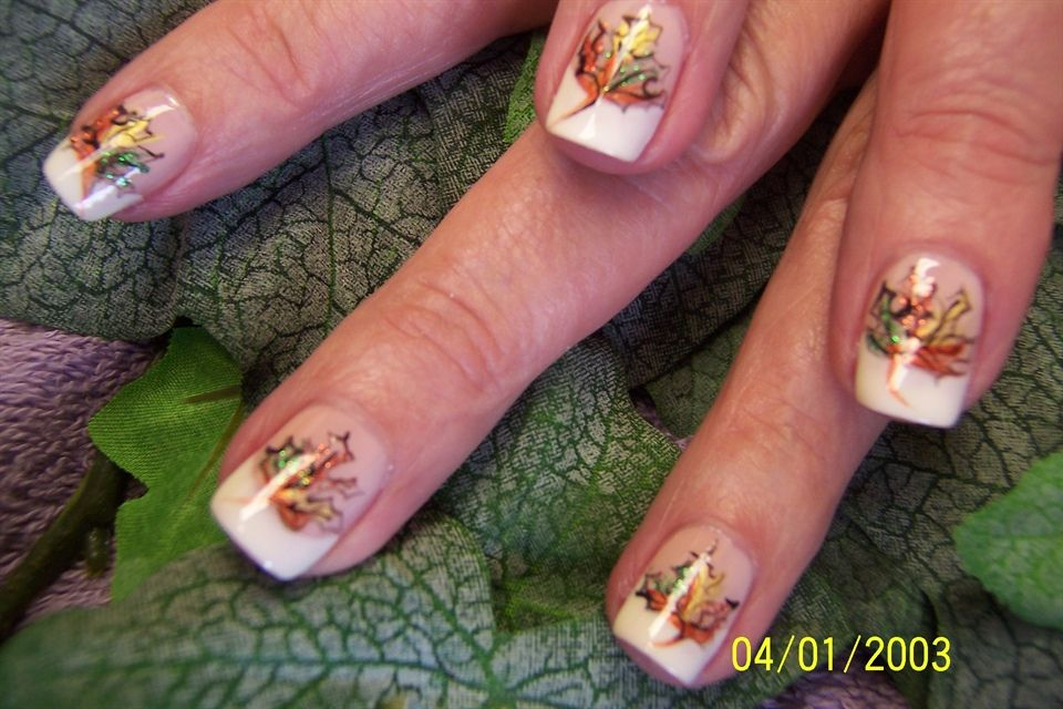 Fall leaf with french tips | Manicures/Pedicures | Pinterest | Fall ...