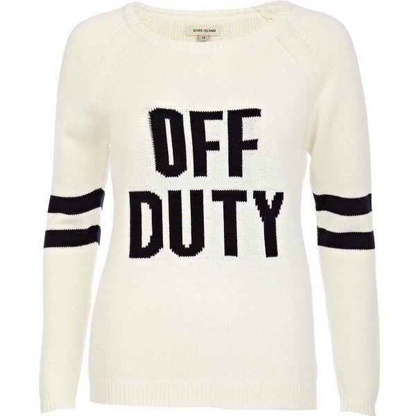 River Island Cream off duty print jumper ($18) ❤ liked on