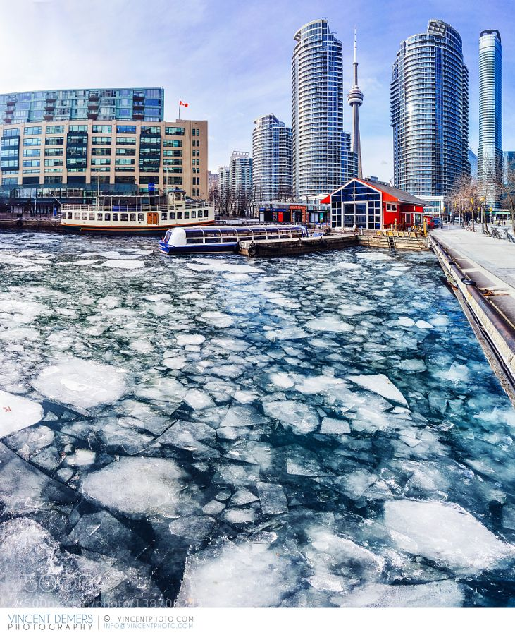 Ice on the lake at Harbourfront in Toronto by vincentphoto