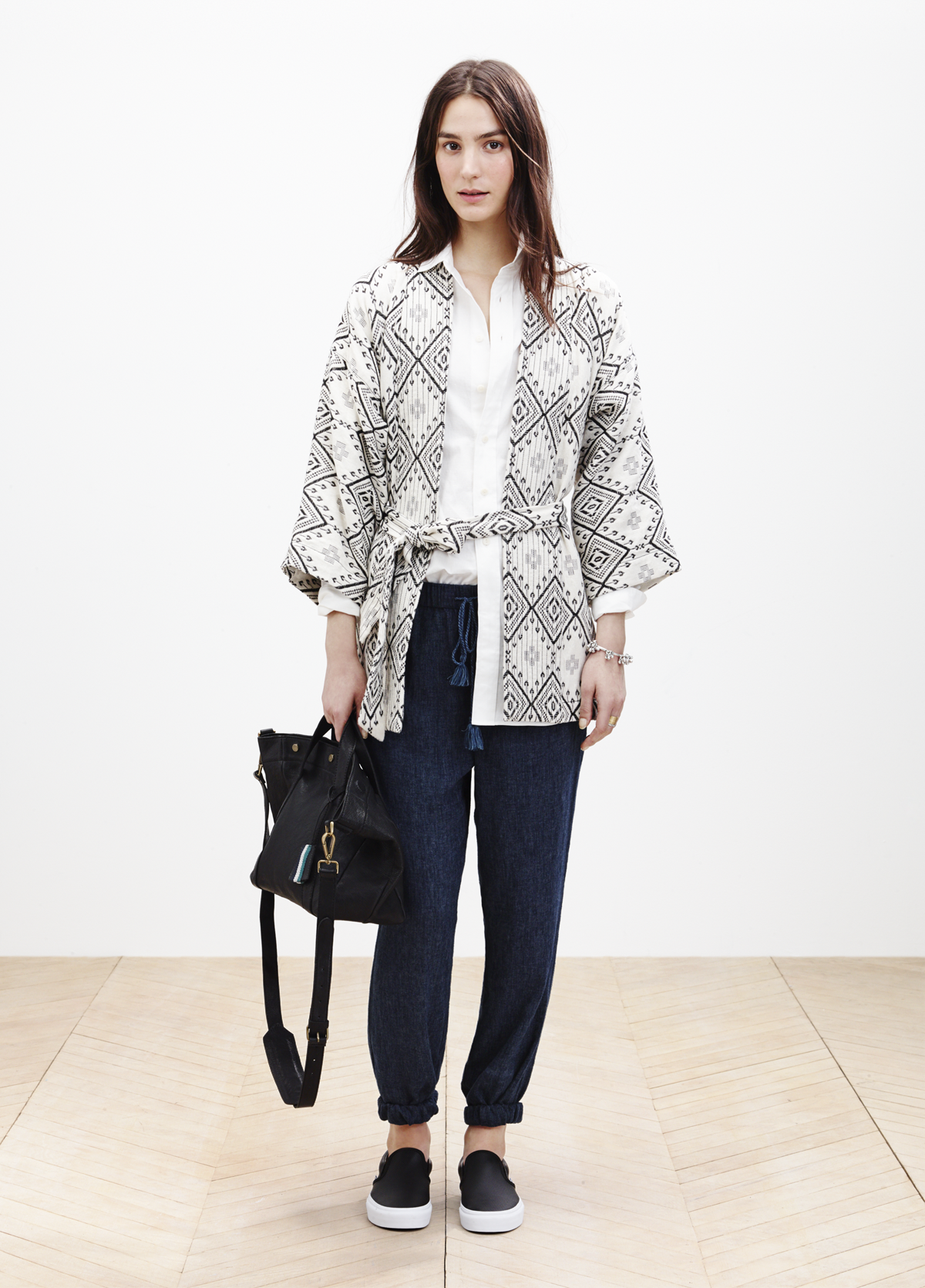 Madewell kimono jacket worn with the oversized side-button shirt   ...