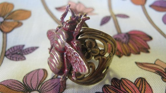 Bee Ring Bee Jewelry Antiqued Brass Pink by enchantedsquirrel, $23.00