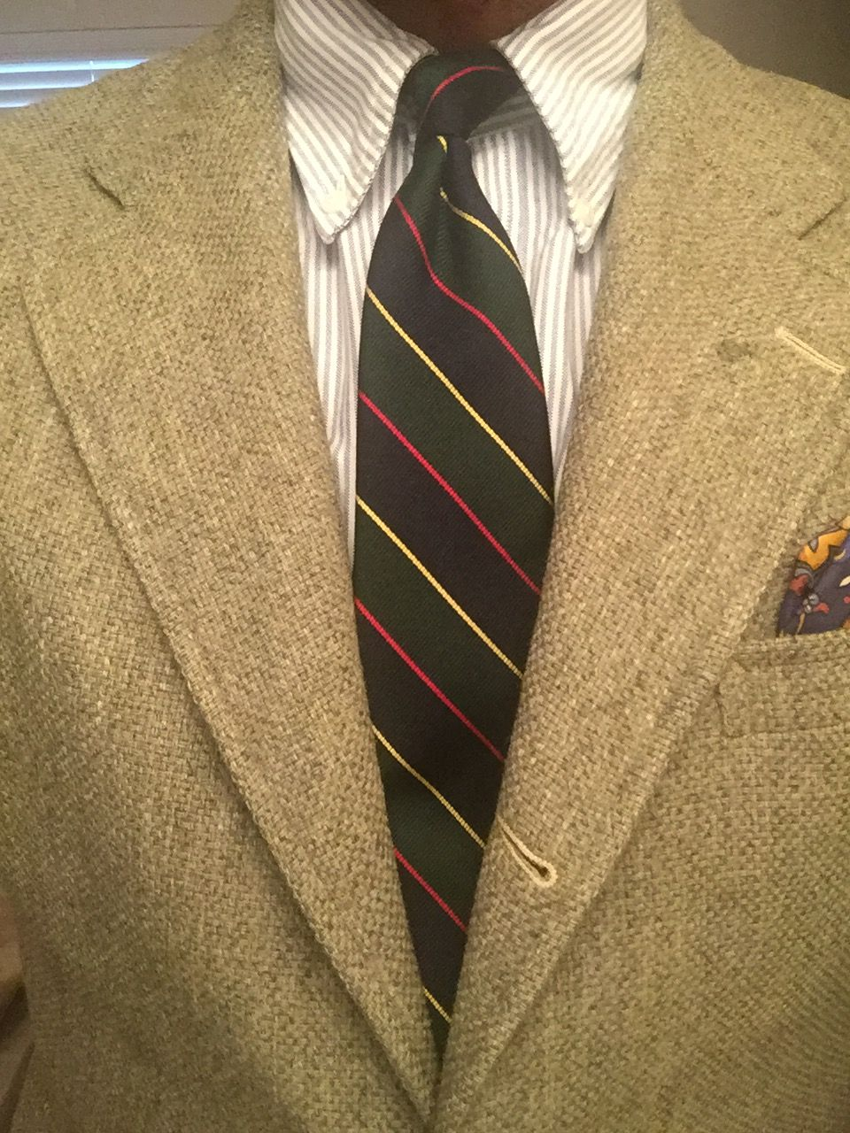Sage green 3/2 roll Brooks Brothers sport coat, Argyle Sutherland tie, &