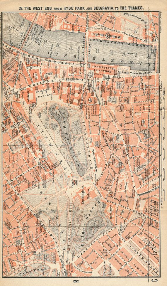 1930 antique london street map london england united by figure10