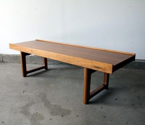 mid century modern danish coffee table bench norwegian teak | wood