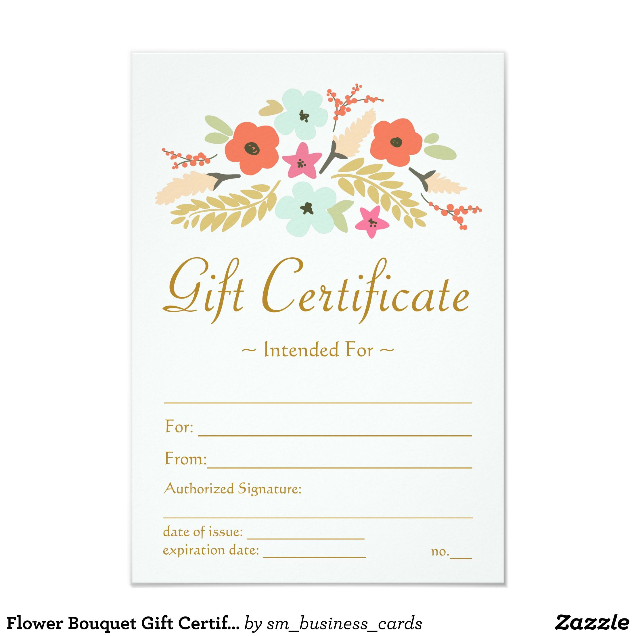 Flower bouquet gift certificate card photography gift