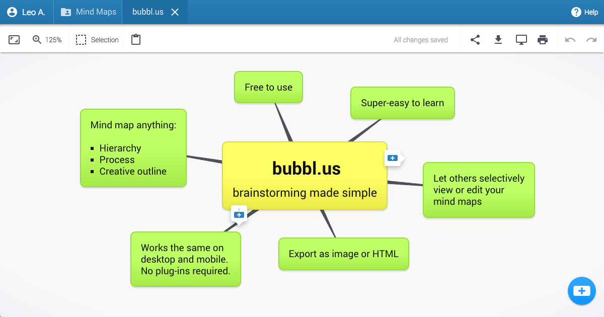 bubblus free online mind mapping tool - Bubblus Mind Map