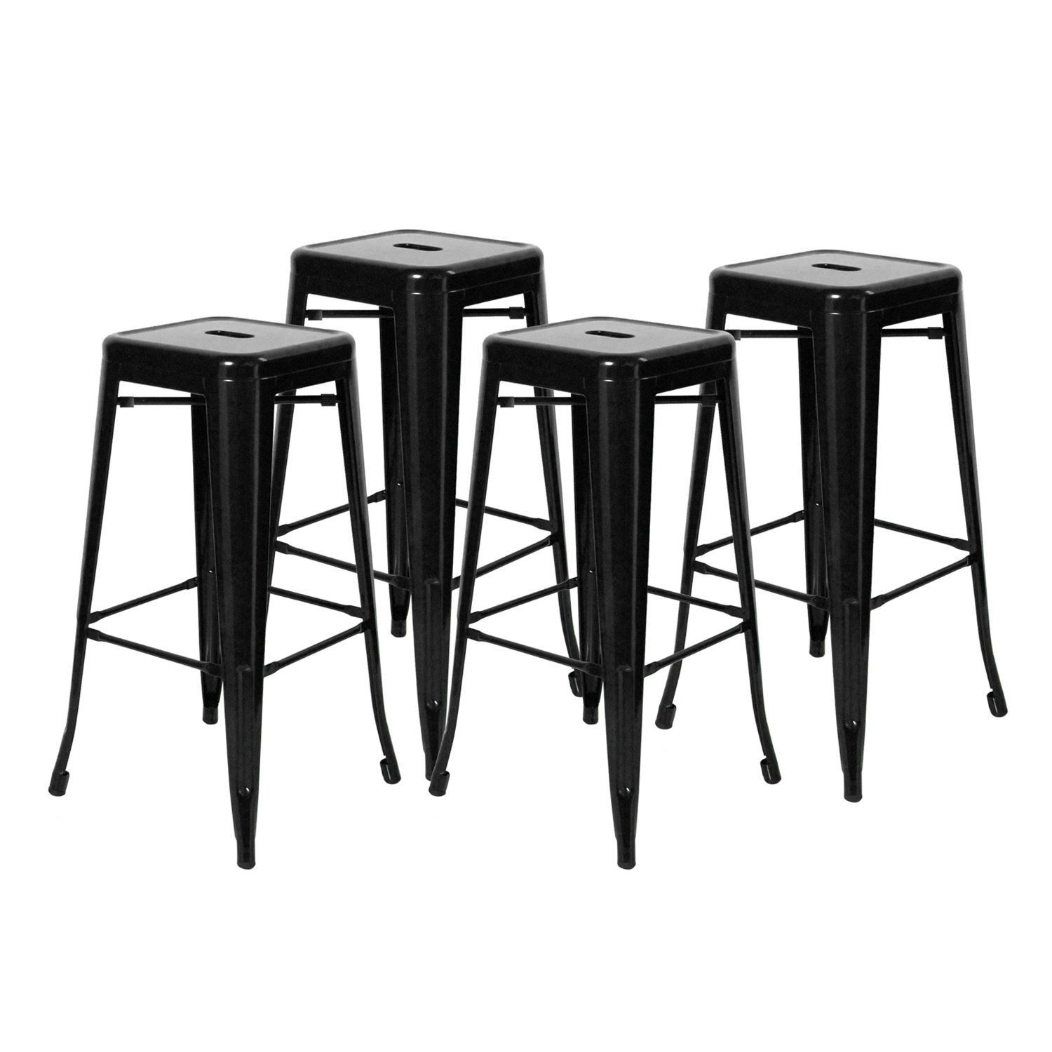 Yourlite 30 Inches Industrial Chair High Backless Indooroutdoor Barstool With Square Cushion Seat Metal Counter Stools Pa Metal Counter Stools Stool Bar Stools
