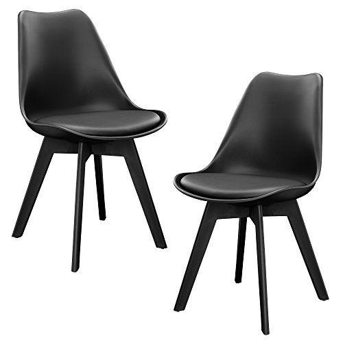 2 x sillas de comedor (negro) set para comedor / salón / juego de ...
