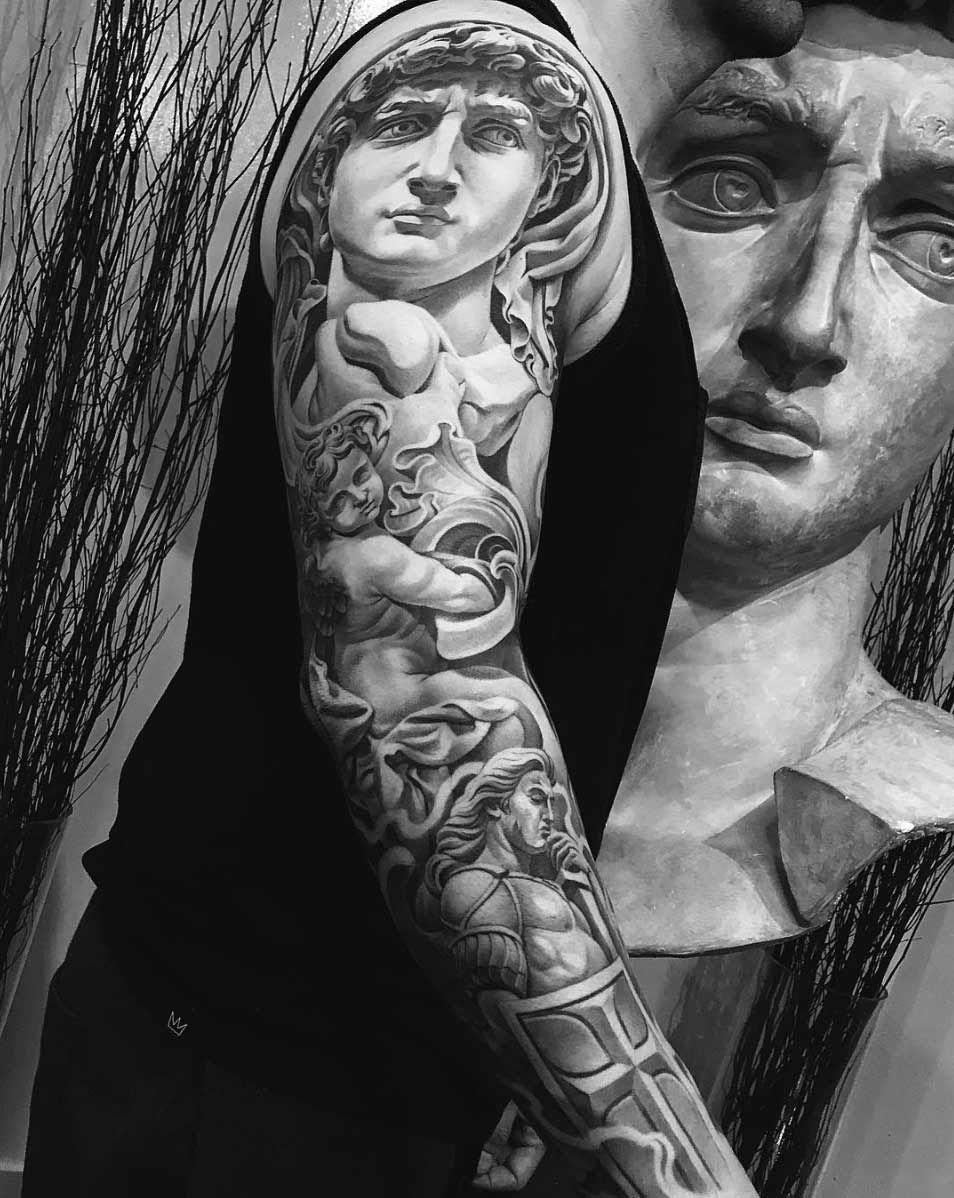Renaissance Art Sleeve By Jun Cha Tattoos On Men Tatuiro Tattoo Sleeve Men Tattoos For Guys Jun Cha Tattoo