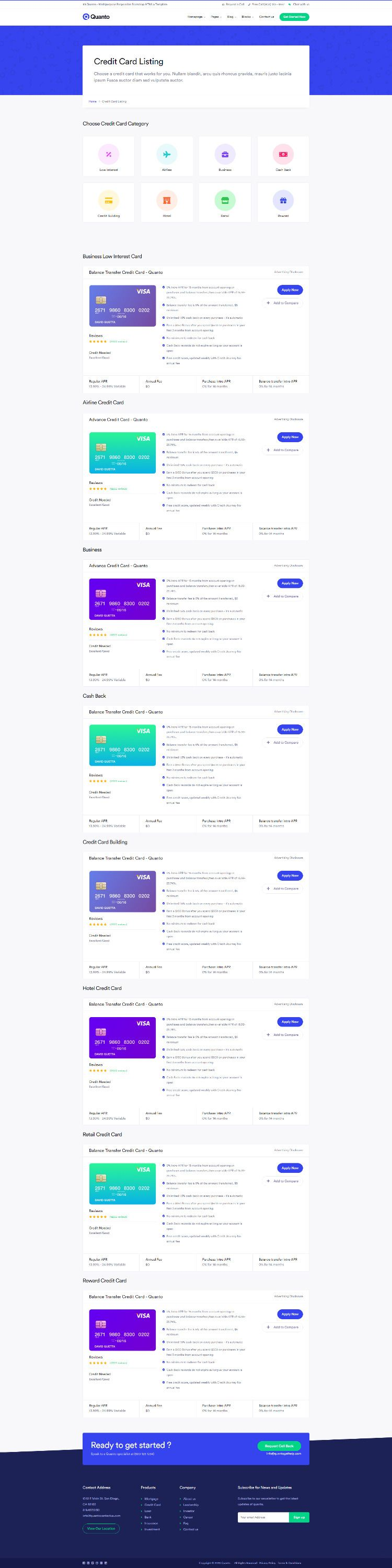Quanto Creative Multipurpose Responsive Html Template Credit Card Website Card Layout Credit Card