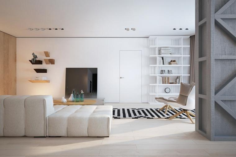 Innenarchitektur, die Holz und Schwarzweiss-Farben kombiniert Haus - wohnzimmer deko schwarz weiss