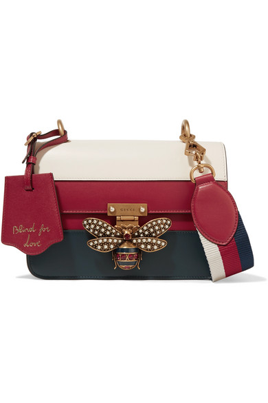 c938606fb2c9 Gucci - Queen Margaret Embellished Paneled Leather Shoulder Bag - Red
