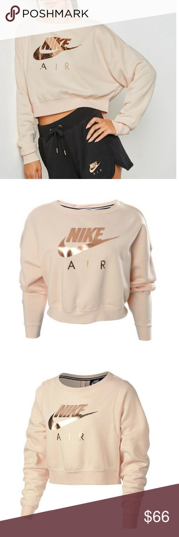 Nwt Nike Air Logo Cropped Sweatshirt Rose Gold Crop Sweatshirt Clothes Design Fashion [ 1740 x 580 Pixel ]