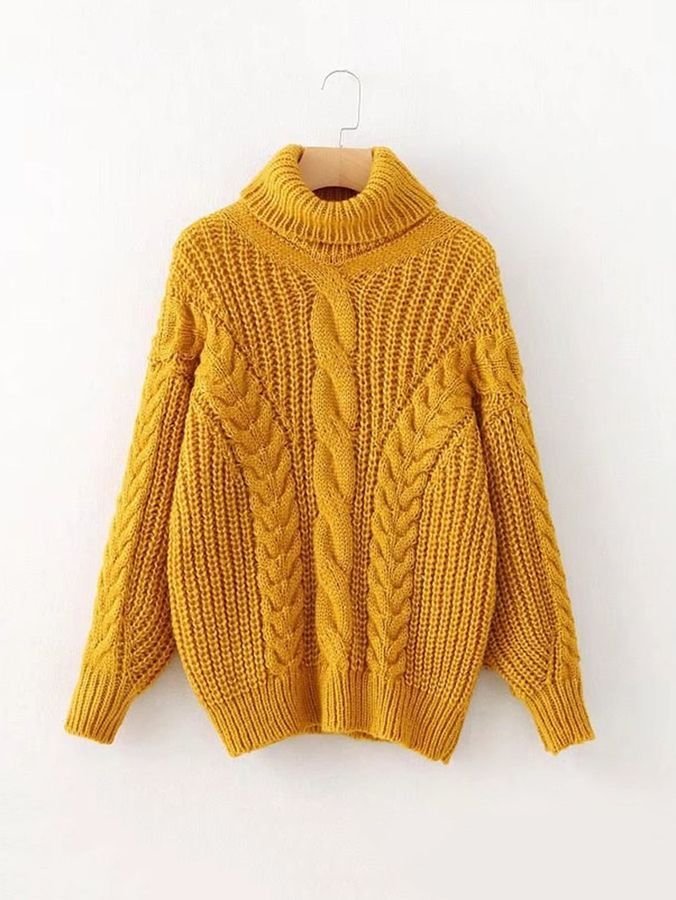 Cable-knit Turtleneck Sweater   cozy sweater   chunky sweater   fall  fashion   fall 508790449