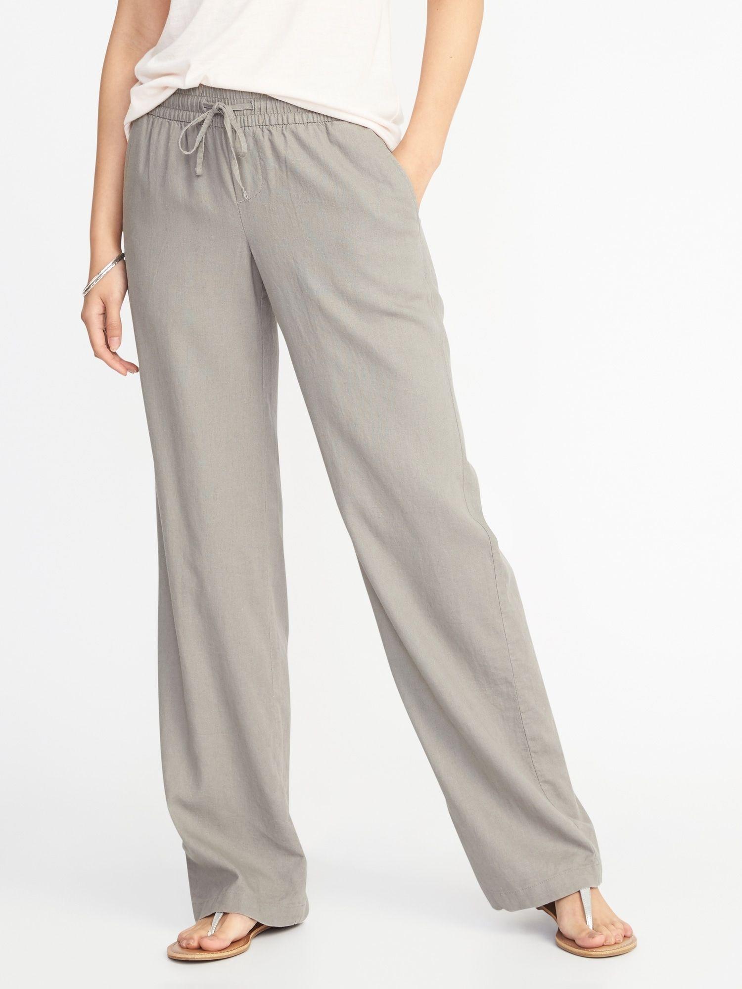 2af3f3d39374f Mid-Rise Soft Wide-Leg Linen-Blend Pants for Women in 2019 | Shirts ...