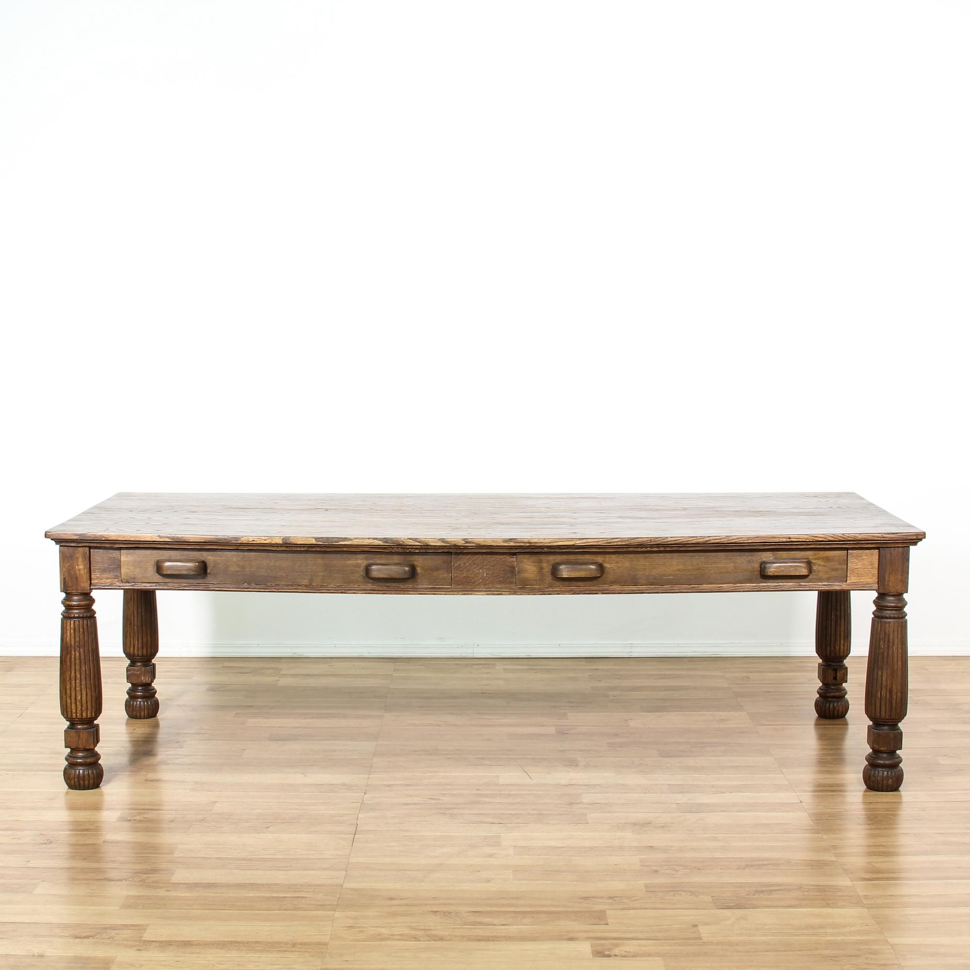 Large Dark Oak 2 Drawer Library Table. Rustic Dining ...