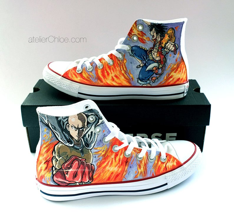 Anime Shoes Manga Shoes Hand Painted Custom Anime Vans Anime Etsy In 2020 How To Make Shoes Converse Converse Chuck Taylor High Top Sneaker