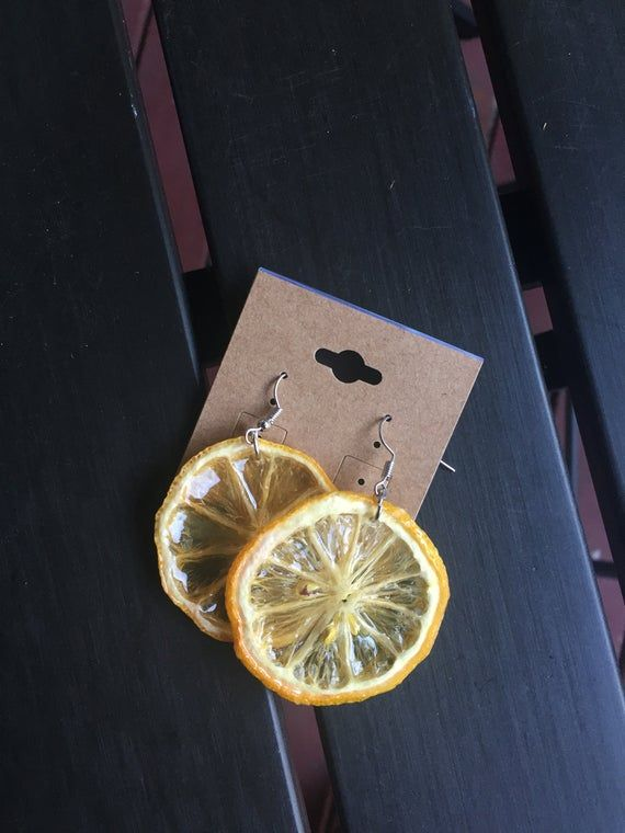 Organic Lime/ Lemon Earrings | Etsy