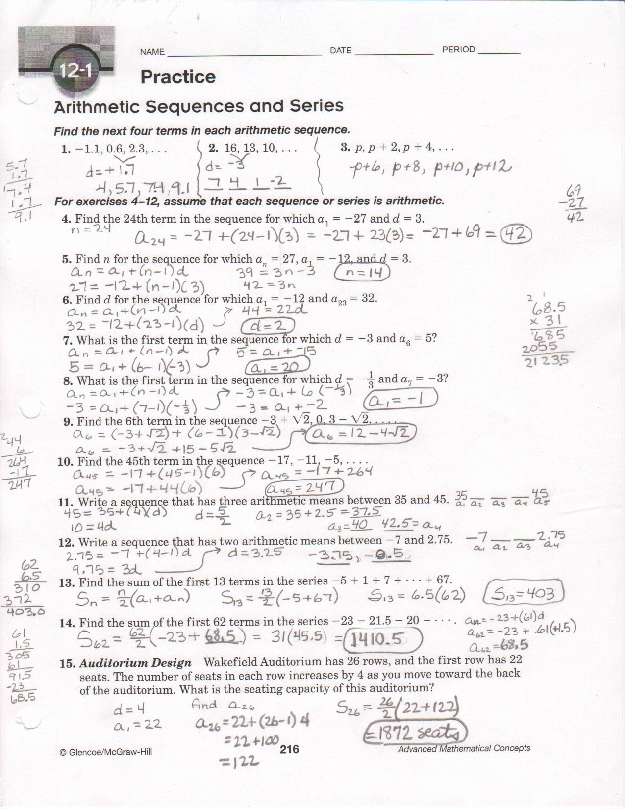 Arithmetic Sequence Worksheet With Answers Beautiful