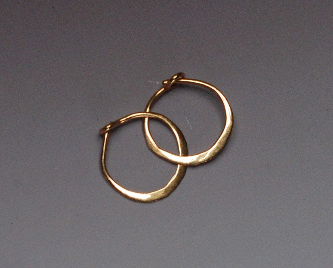 Solid Gold Hoops Tiny 14k Hoop Earings 10 Mm Earrings 14 Karat Yellow Sleepers Hammered Small 1cm