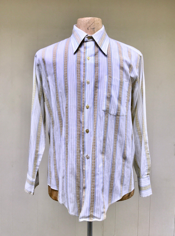 Vintage 1970s White Striped Cotton Blend Dress Shirt 16 1 2 Etsy In 2020 Cotton Blends Dress Shirt Dress Cotton Blend