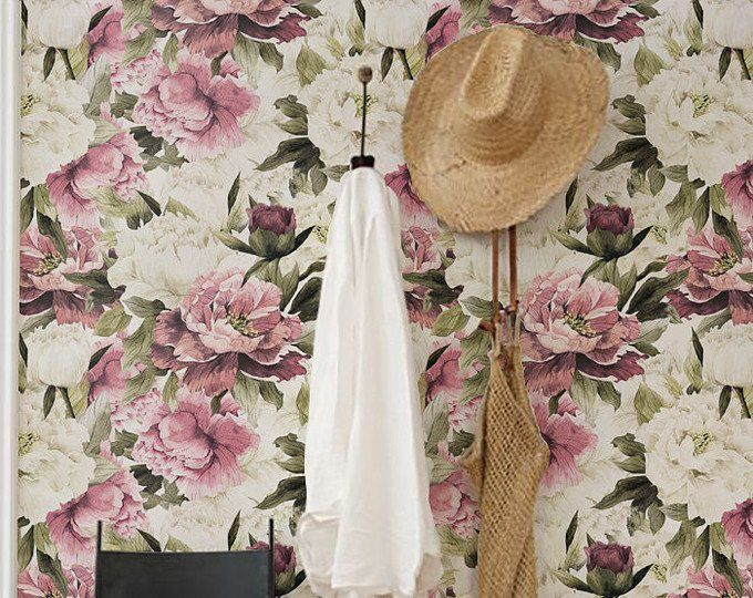 Large Floral Wallpaper, Wall Mural, Floral Home Décor ...