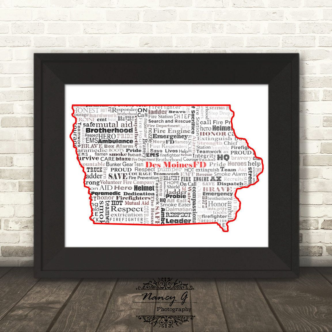 Des moines fire department iowa word art typography ia