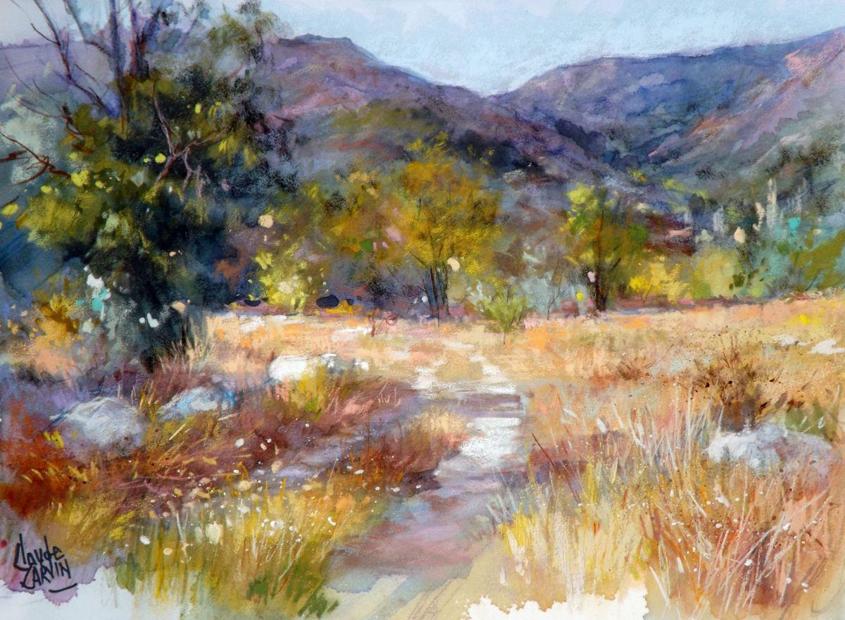 Chemin Vers La Souche Peinture 38×28 Cm Par Claude Carvin Pastel