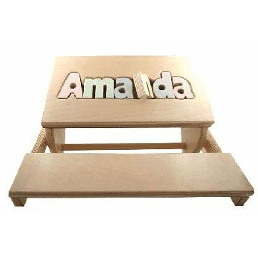 Personalized puzzle name flip stool baby gifts pinterest puzzle name flip stool wide x high and weighs about 10 lbs comes in bright color letters or pastel color letters with lead free paint great baby gift negle Image collections