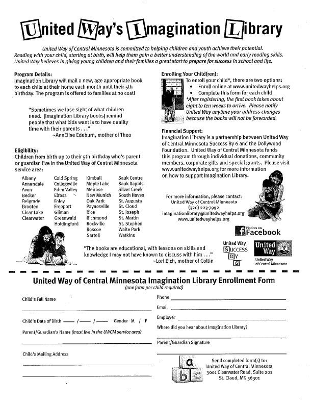 Imagination Library Form. Free books each month for children ages 0-5 years!