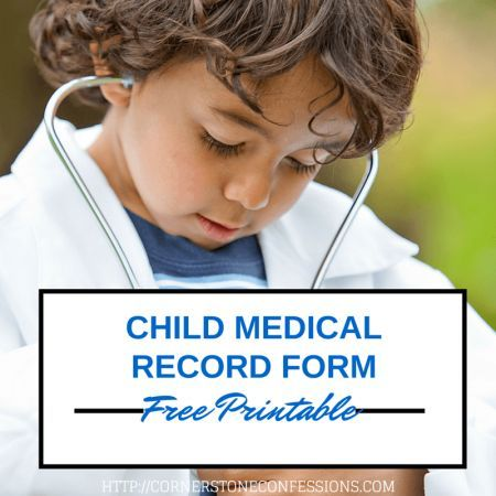 Child Medical Record Form {Free Printable Free printable - free medical form