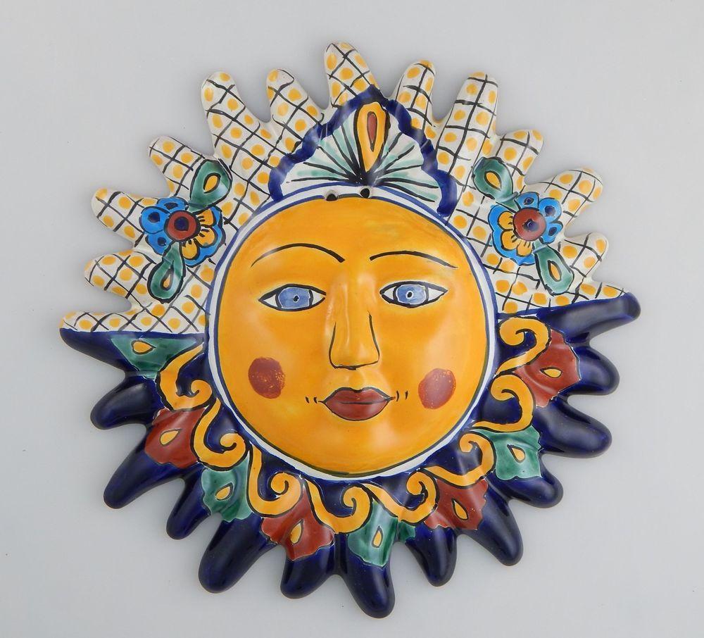 Mexican Talavera Ceramic Sun Face Wall Decor Hanging Pottery Folk ...