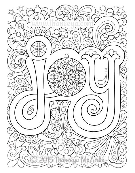 christmas joy coloring page by thaneeya mcardle