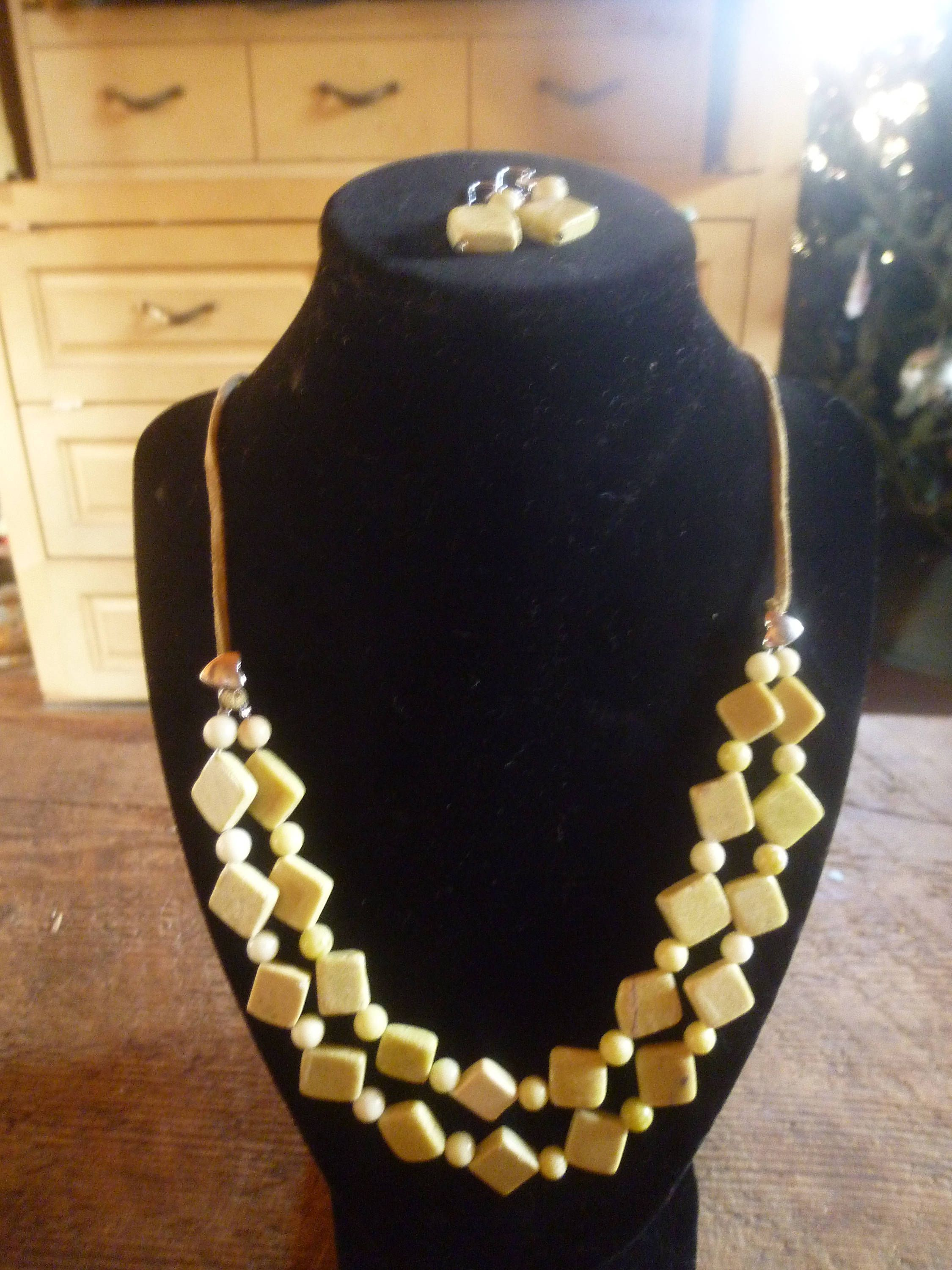 Olive and Yellow Double Strand Bead Earrings and Necklace Gift Set