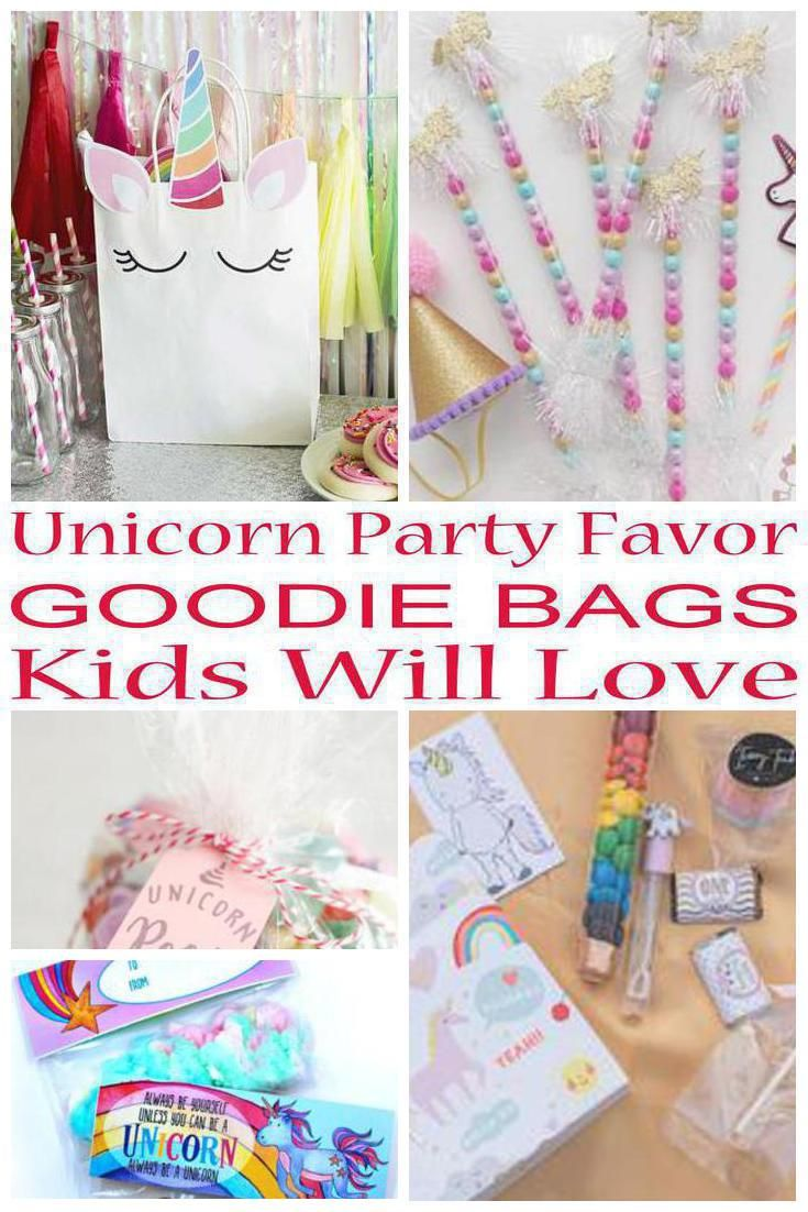 Unicorn Party Favor Goodie Bags | Goodie bags, Party favour ideas ...